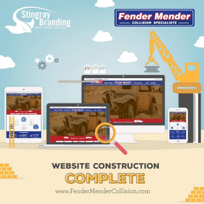Fender Mender website construction done announcement