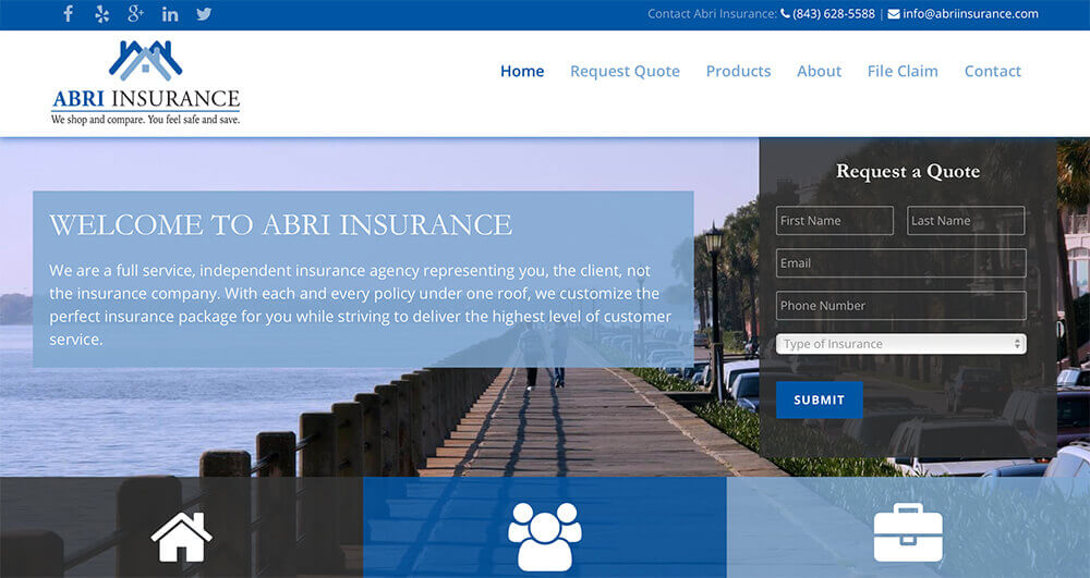 marketing company, charleston, jacksonville, charlotte, small business marketing, website design, web design, abri insurance
