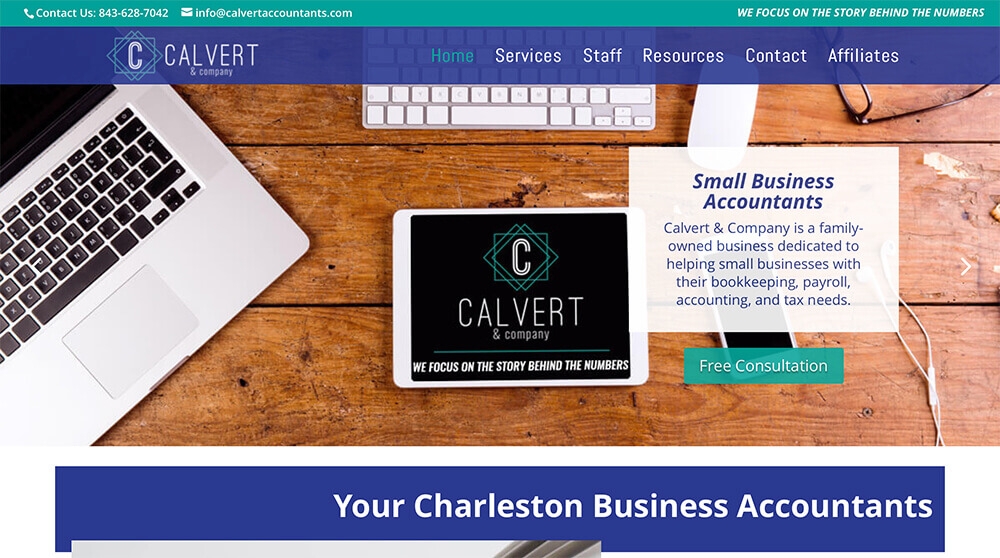marketing company, charleston, jacksonville, charlotte, calvert accountants, website design, custom website, small business