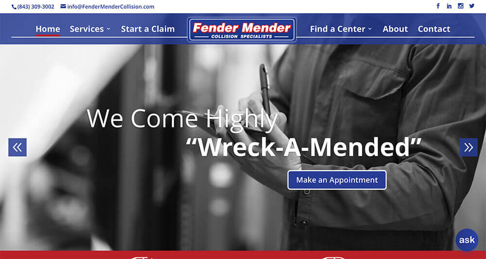 Screenshot of Fender Mender Collision home page
