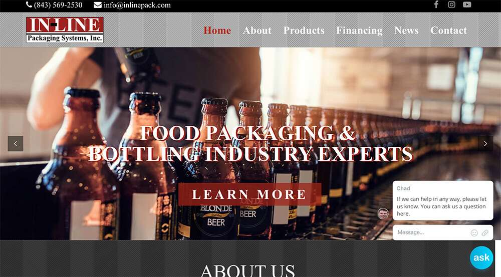 marketing company, charleston, jacksonville, charlotte, small business marketing, InLine Packaging, website, marketing, web design, social media, graphic design, branding