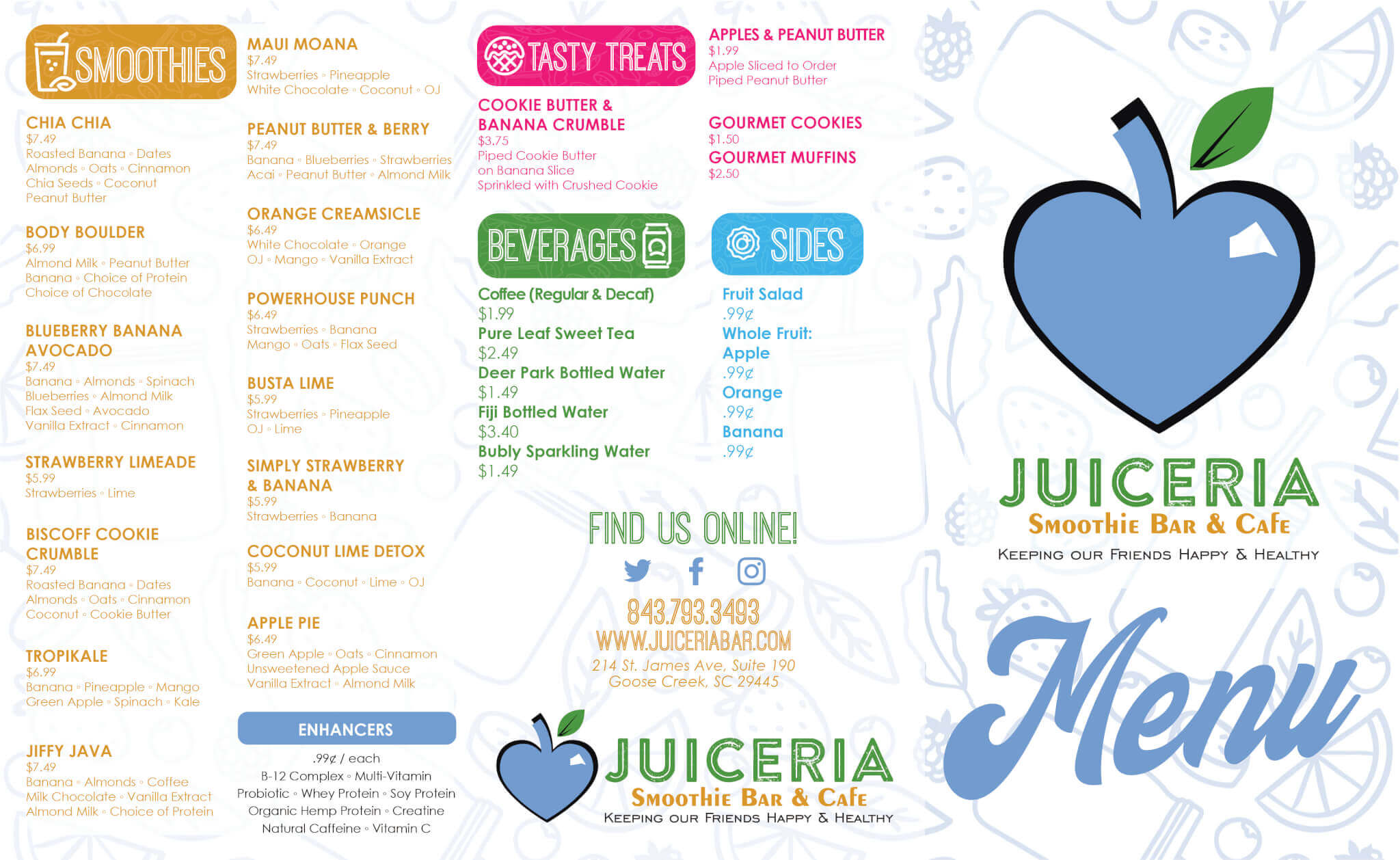 Juiceria Smoothie Bar Menu