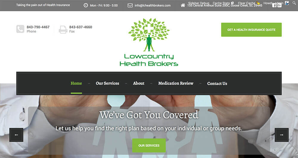 marketing company, charleston, jacksonville, charlotte, small business marketing, LC Health Brokers, website, marketing, web design, social media, graphic design, branding