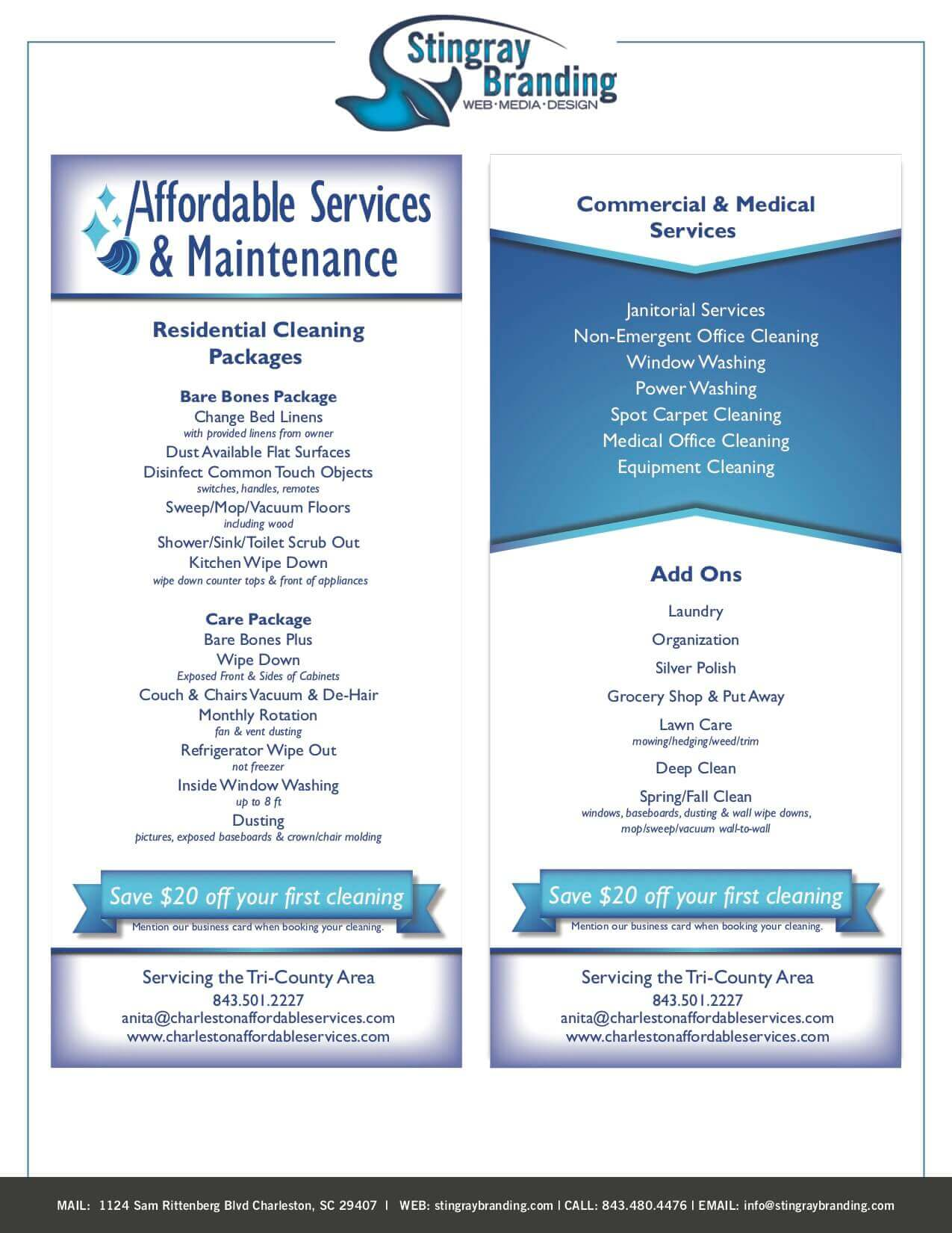 Affordable Services Rack Card