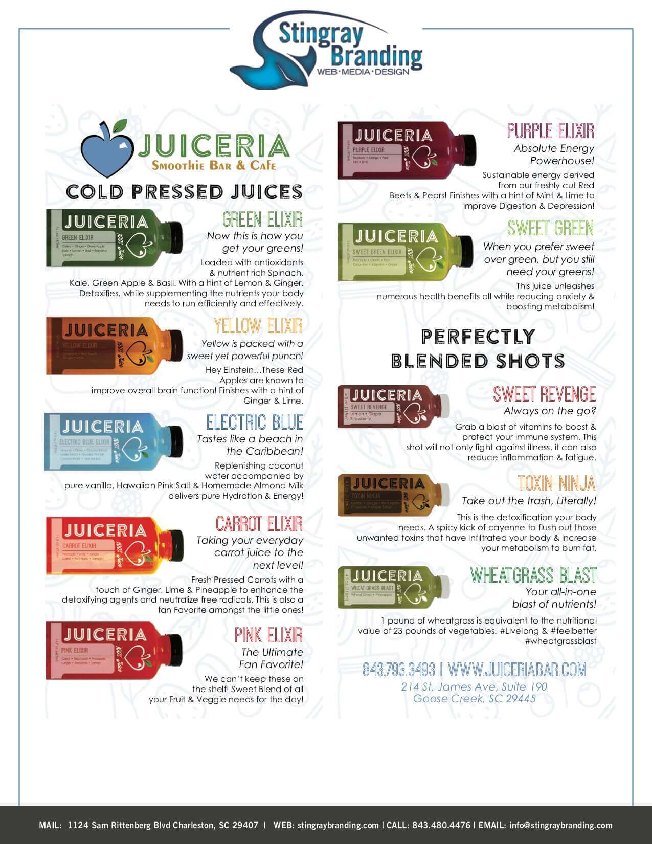Juiceria Smoothie Bar Rack Card