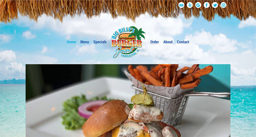 Big Billy's Burger Joint, charleston website design, web designer, restaurant marketing