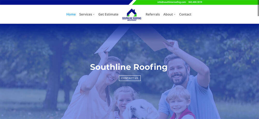 southline roofing, charleston website design, charleston web designer, stingray branding