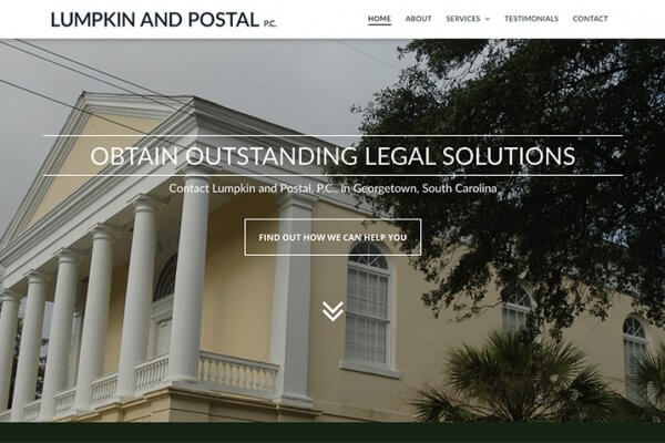 lumpkin & postal website, website design, georgetown, stingray branding
