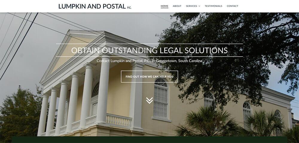 lumpkin & postal website, website design, georgetown, stingray branding