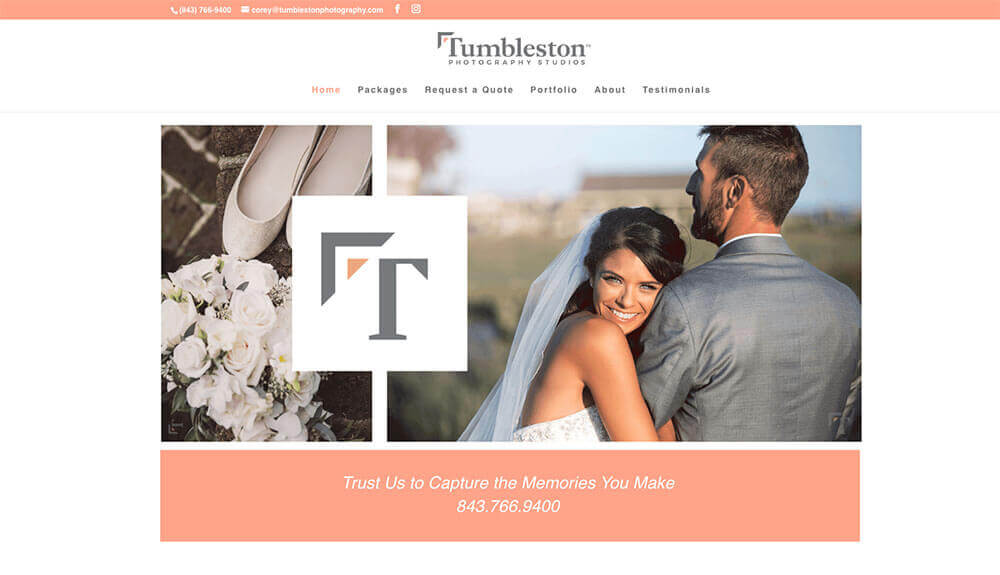 tumbleston wedding website, charleston website design, stingray branding