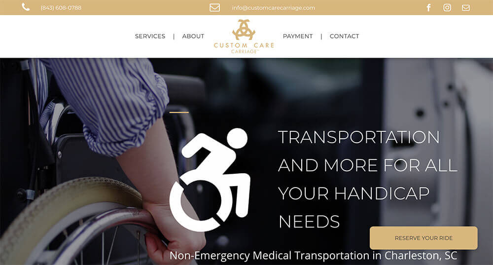 custom care carriage, website design, stingray branding